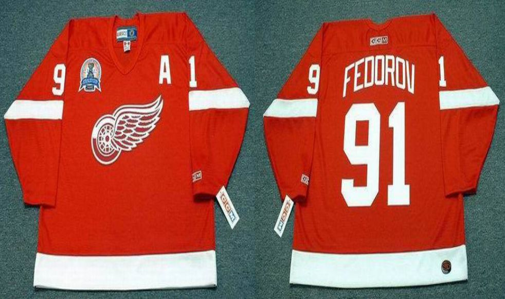2019 Men Detroit Red Wings 91 Fedorov Red CCM NHL jerseys1