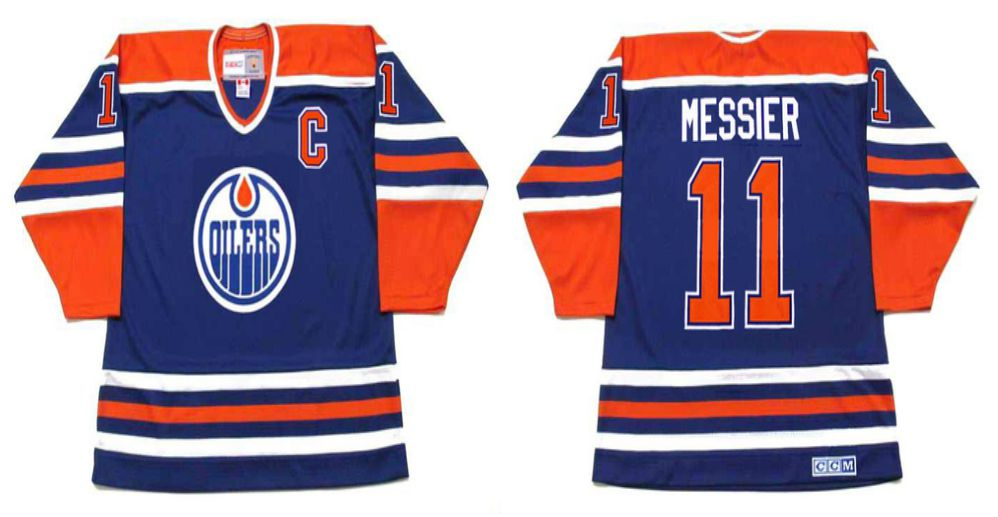 2019 Men Edmonton Oilers 11 Messier Blue CCM NHL jerseys