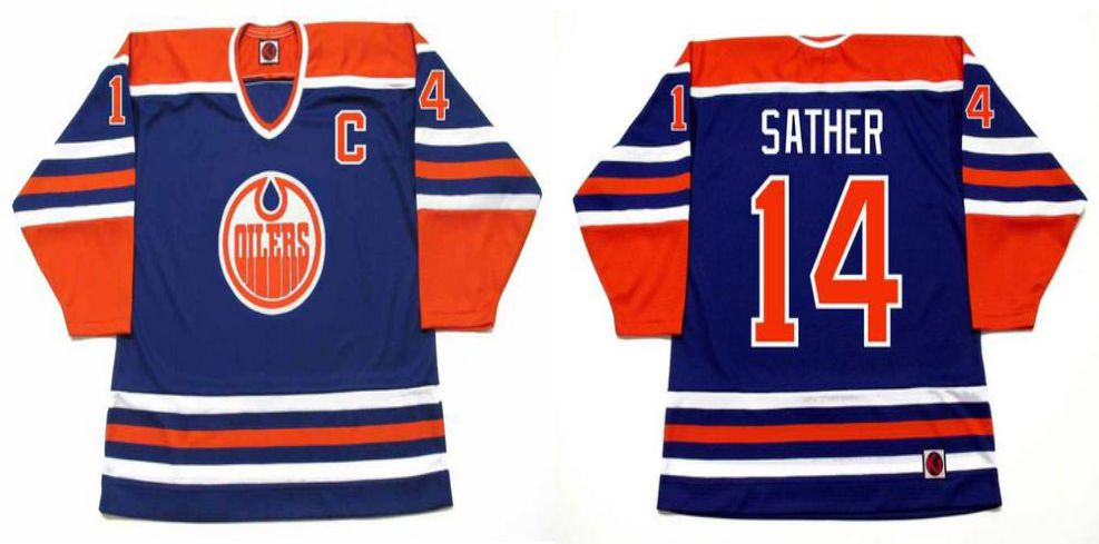 2019 Men Edmonton Oilers 14 Sather Blue CCM NHL jerseys