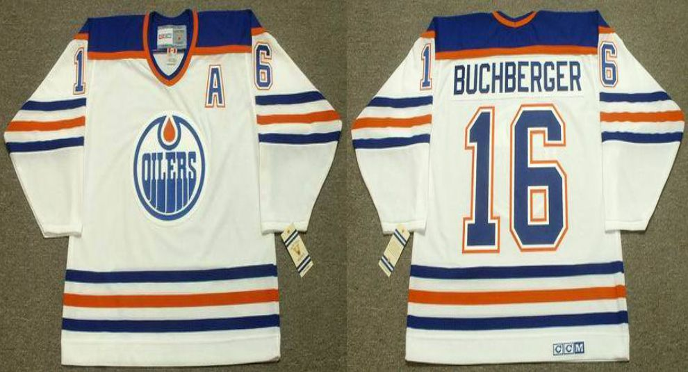 2019 Men Edmonton Oilers 16 Buchberger White CCM NHL jerseys