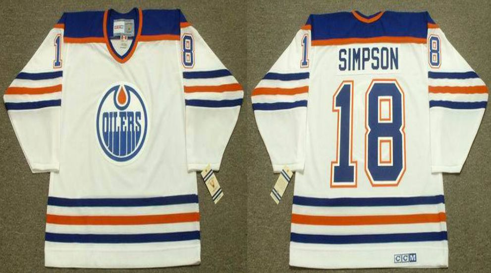2019 Men Edmonton Oilers 18 Simpson White CCM NHL jerseys