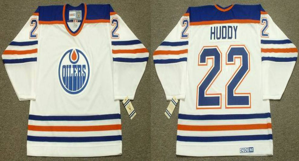 2019 Men Edmonton Oilers 22 Huddy White CCM NHL jerseys