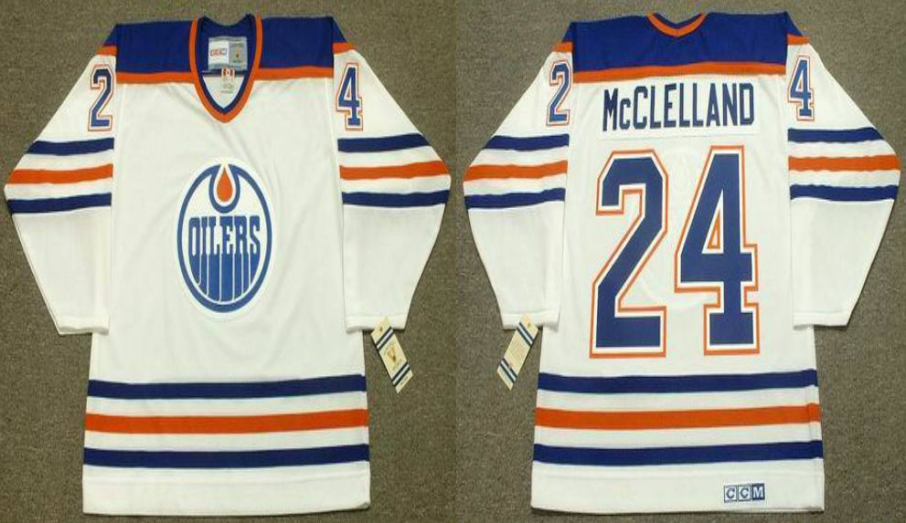 2019 Men Edmonton Oilers 24 Mcclelland White CCM NHL jerseys