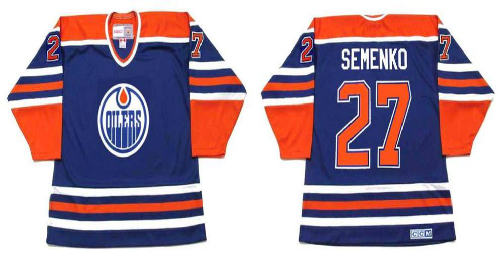 2019 Men Edmonton Oilers 27 Semenko Blue CCM NHL jerseys