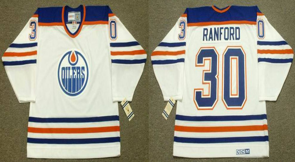 2019 Men Edmonton Oilers 30 Ranford White CCM NHL jerseys