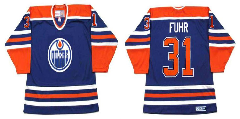 2019 Men Edmonton Oilers 31 Fuhr Blue CCM NHL jerseys