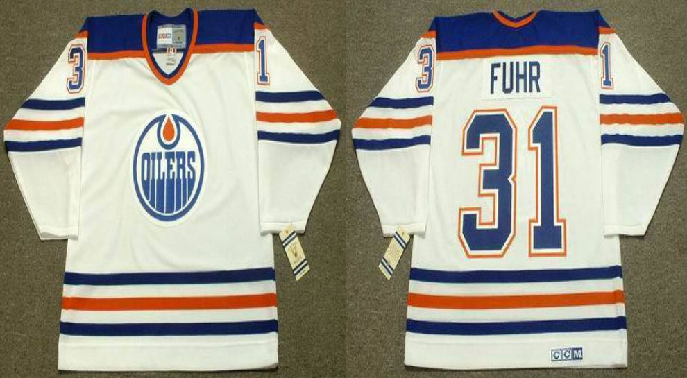 2019 Men Edmonton Oilers 31 Fuhr White CCM NHL jerseys
