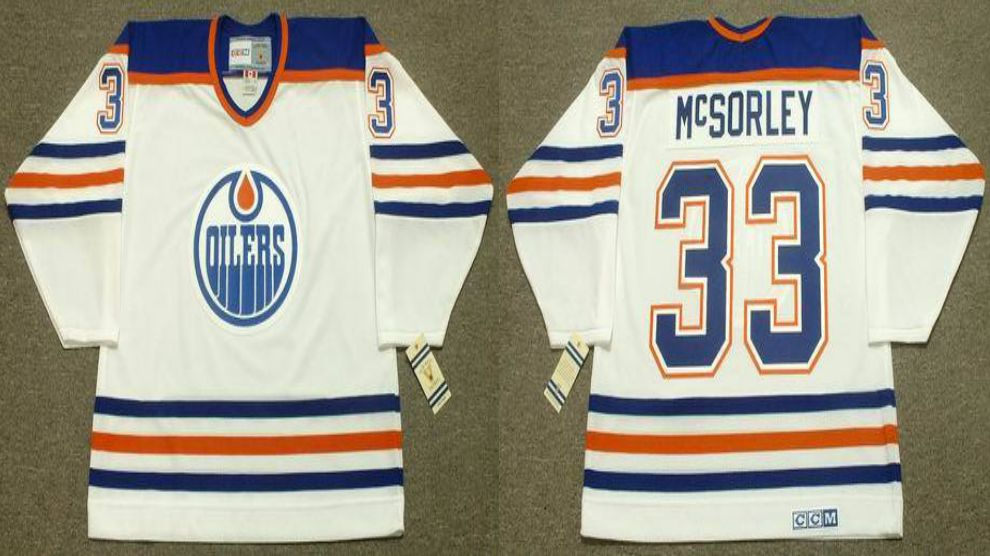 2019 Men Edmonton Oilers 33 Mcsorley White CCM NHL jerseys