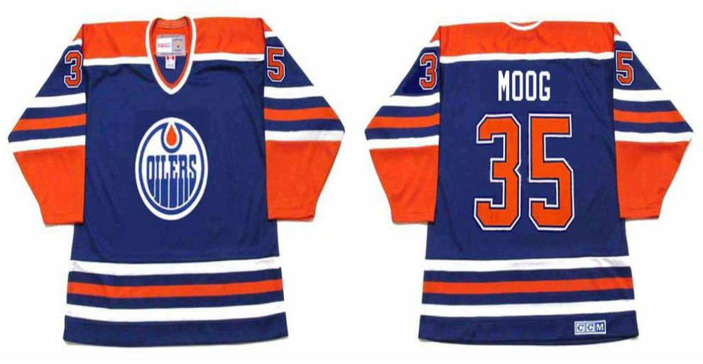 2019 Men Edmonton Oilers 35 Moog Blue CCM NHL jerseys