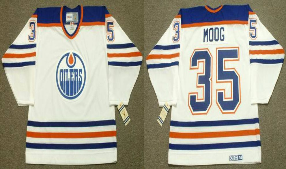 2019 Men Edmonton Oilers 35 Moog White CCM NHL jerseys