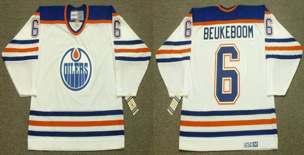 2019 Men Edmonton Oilers 6 Beukeboom White CCM NHL jerseys