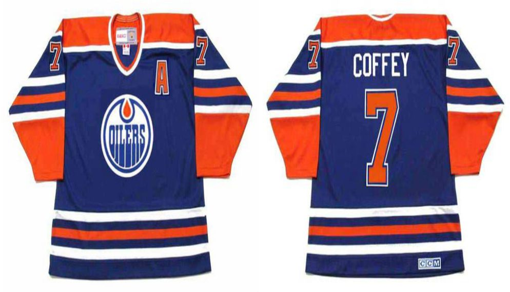 2019 Men Edmonton Oilers 7 Coffey Blue CCM NHL jerseys