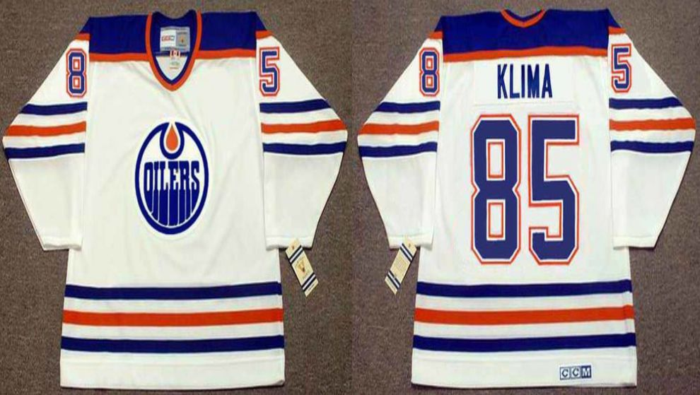 2019 Men Edmonton Oilers 85 Klima White CCM NHL jerseys
