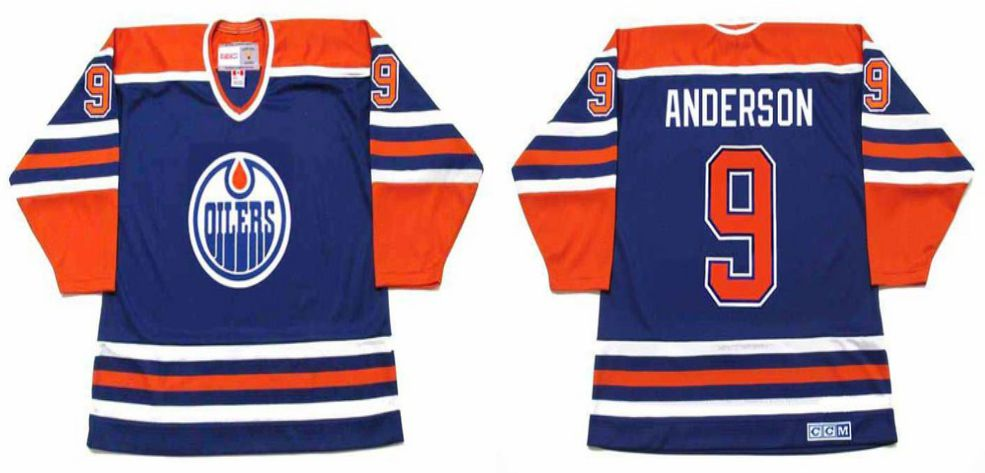 2019 Men Edmonton Oilers 9 Anderson Blue CCM NHL jerseys