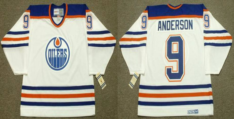 2019 Men Edmonton Oilers 9 Anderson White CCM NHL jerseys