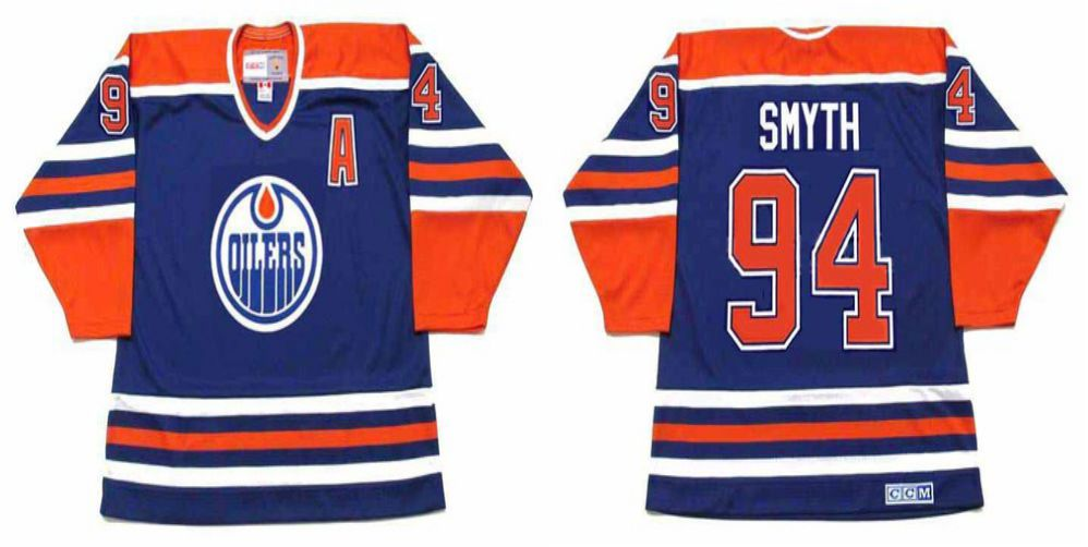 2019 Men Edmonton Oilers 94 Smyth Blue CCM NHL jerseys