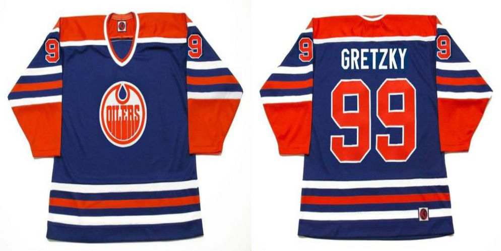 2019 Men Edmonton Oilers 99 Gretzky Blue CCM NHL jerseys