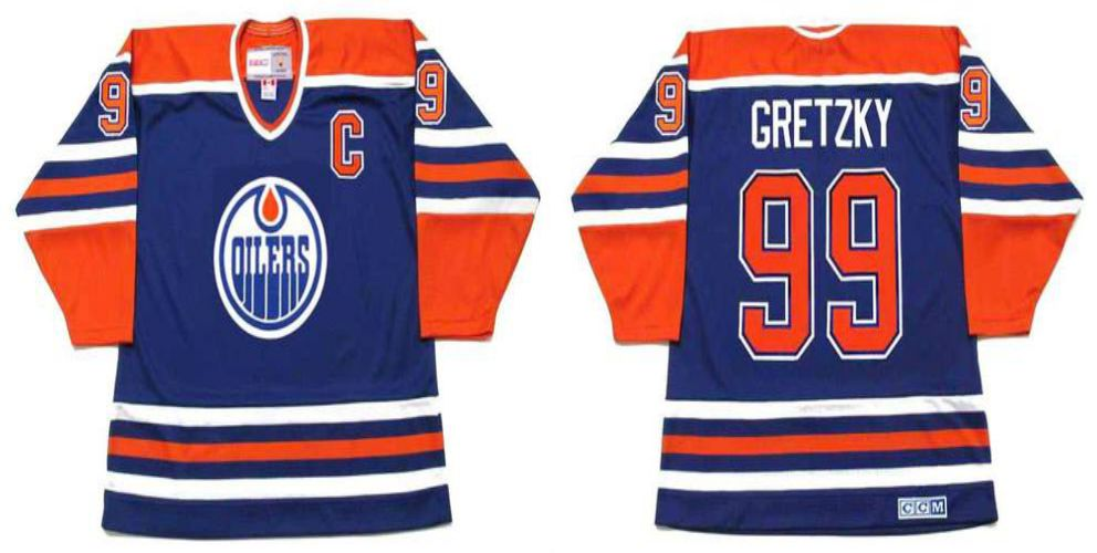 2019 Men Edmonton Oilers 99 Gretzky Blue CCM NHL jerseys1
