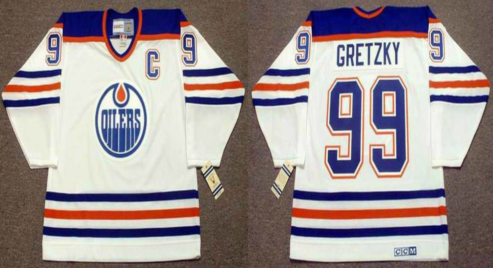 2019 Men Edmonton Oilers 99 Gretzky White CCM NHL jerseys