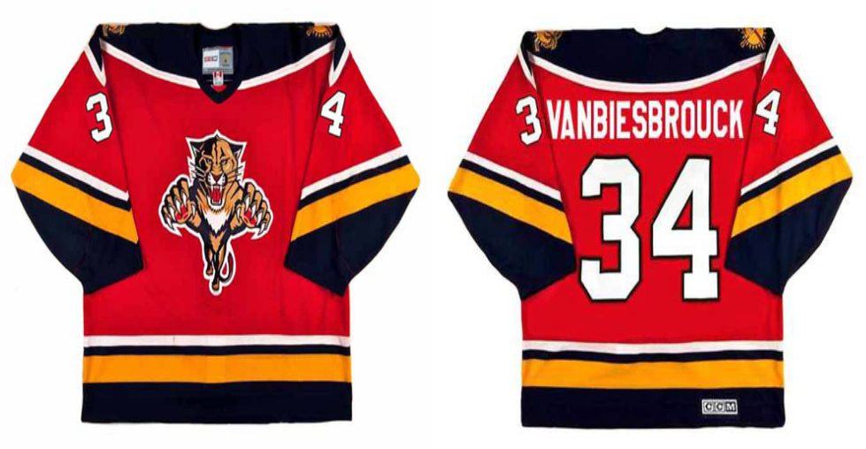 2019 Men Florida Panthers 34 Vanbiesbrouck red CCM NHL jerseys