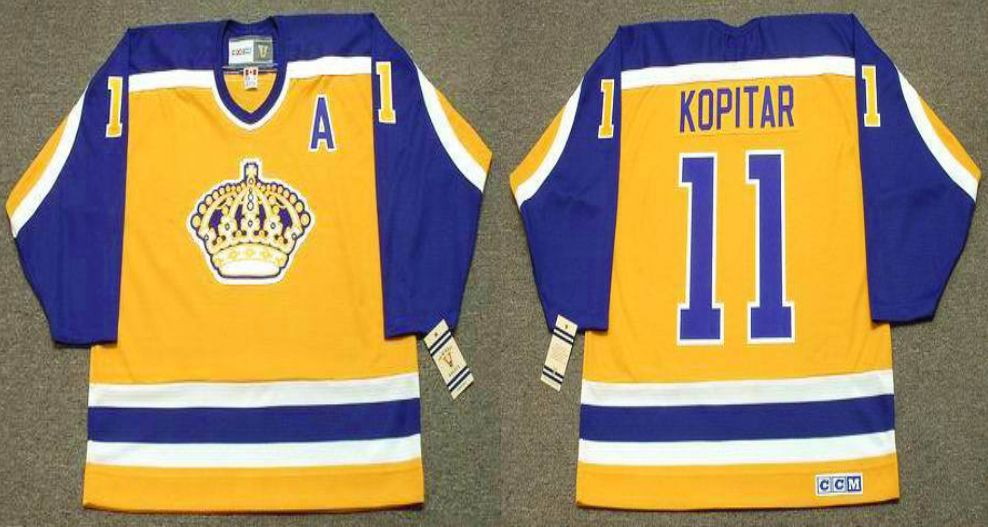 2019 Men Los Angeles Kings 11 Kopitar Yellow CCM NHL jerseys