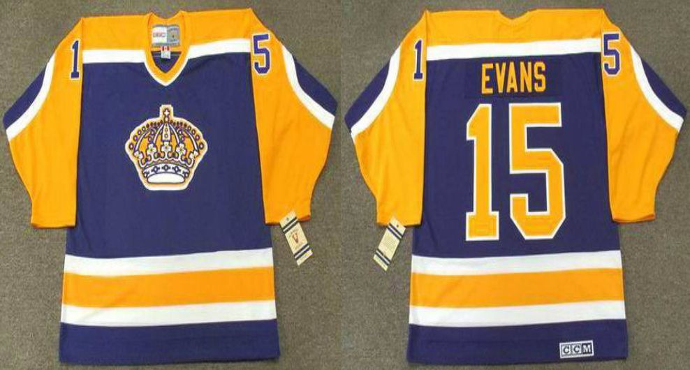2019 Men Los Angeles Kings 15 Evans Blue CCM NHL jerseys
