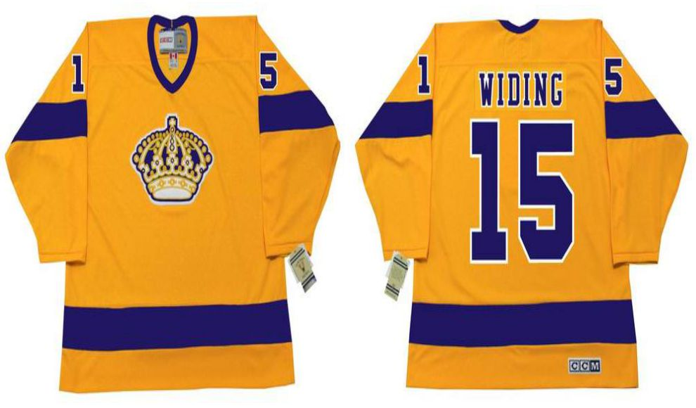 2019 Men Los Angeles Kings 15 Widing Yellow CCM NHL jerseys