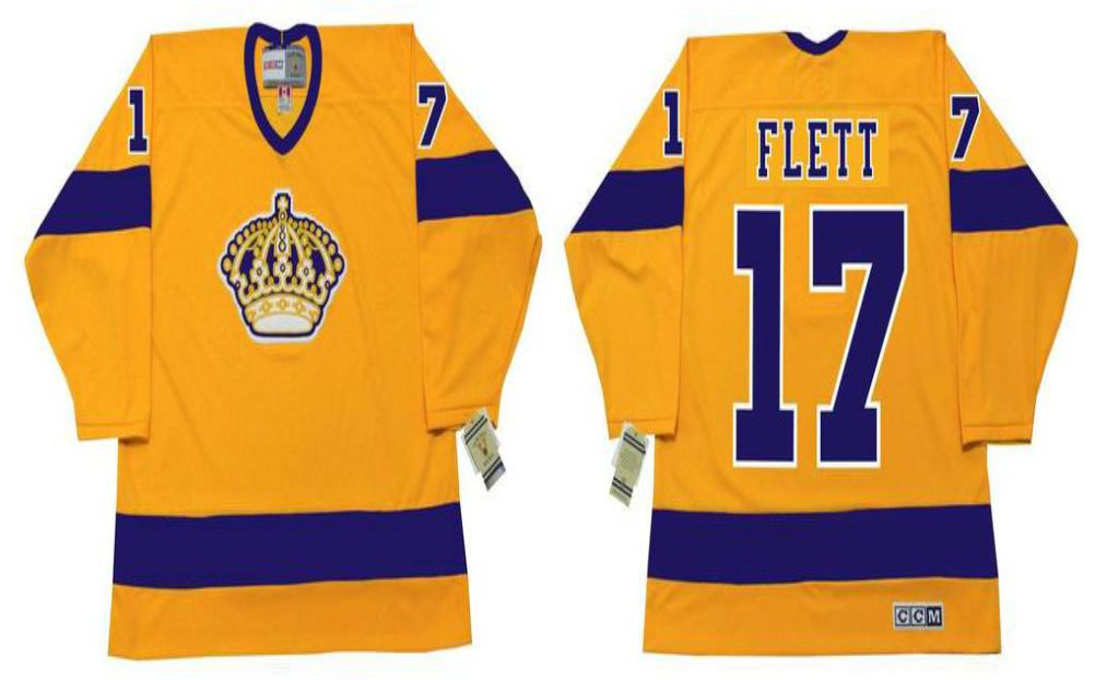 2019 Men Los Angeles Kings 17 Flett Yellow CCM NHL jerseys