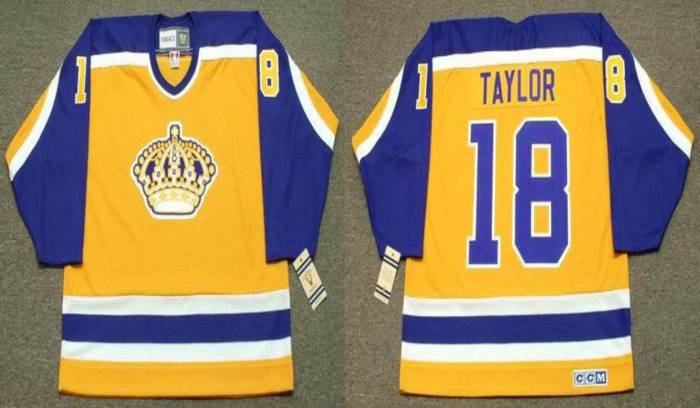 2019 Men Los Angeles Kings 18 Taylor Yellow CCM NHL jerseys