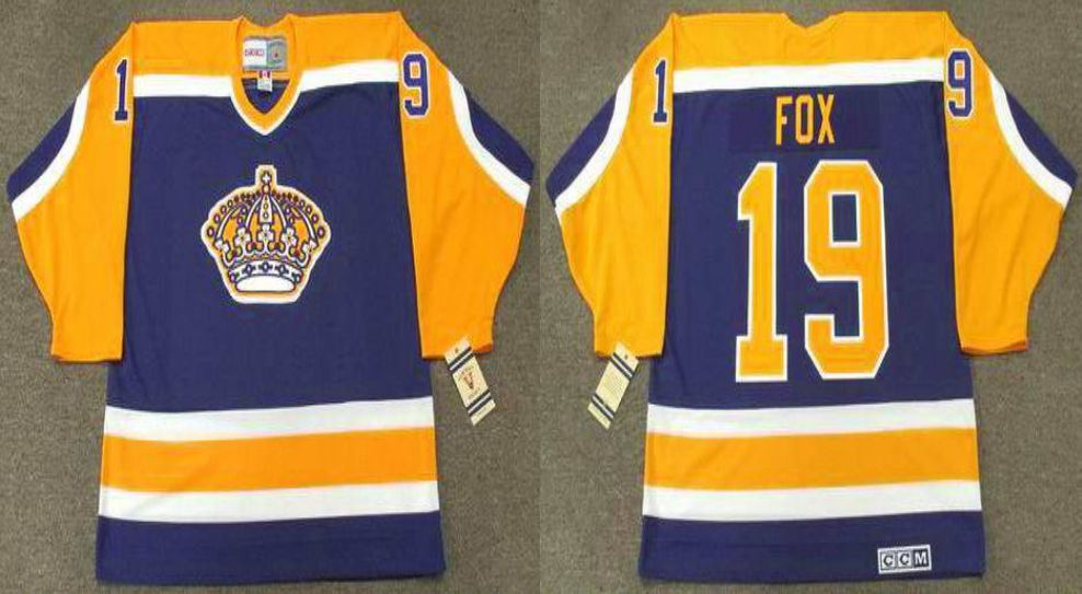2019 Men Los Angeles Kings 19 Fox Blue CCM NHL jerseys