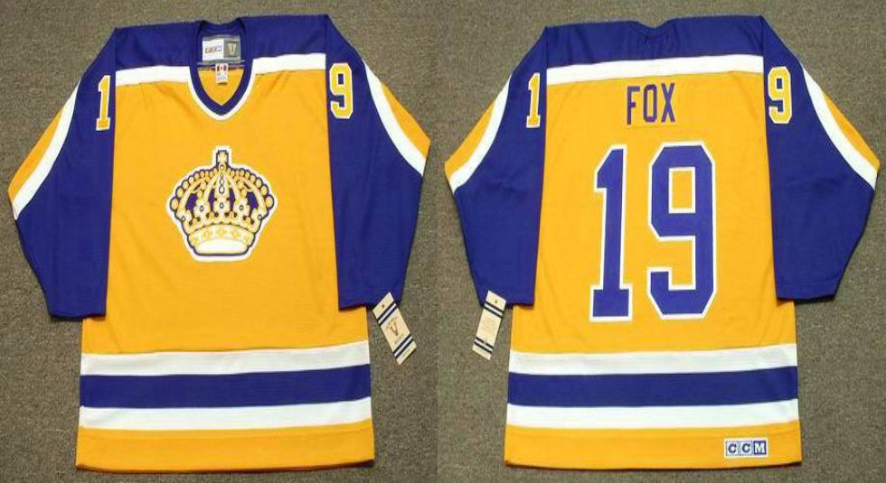 2019 Men Los Angeles Kings 19 Fox Yellow CCM NHL jerseys