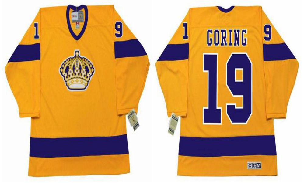 2019 Men Los Angeles Kings 19 Goring Yellow CCM NHL jerseys