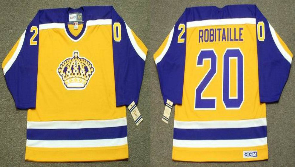 2019 Men Los Angeles Kings 20 Robitaille Yellow CCM NHL jerseys