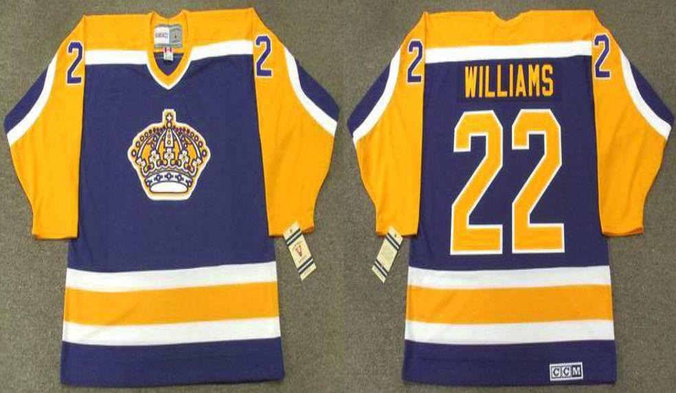 2019 Men Los Angeles Kings 22 Williams Blue CCM NHL jerseys