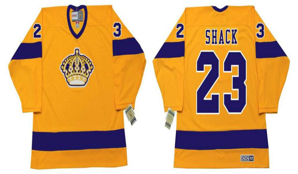 2019 Men Los Angeles Kings 23 Shack Yellow CCM NHL jerseys
