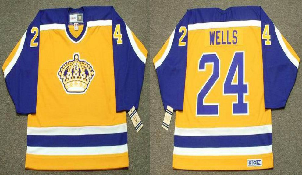 2019 Men Los Angeles Kings 24 Wells Yellow CCM NHL jerseys
