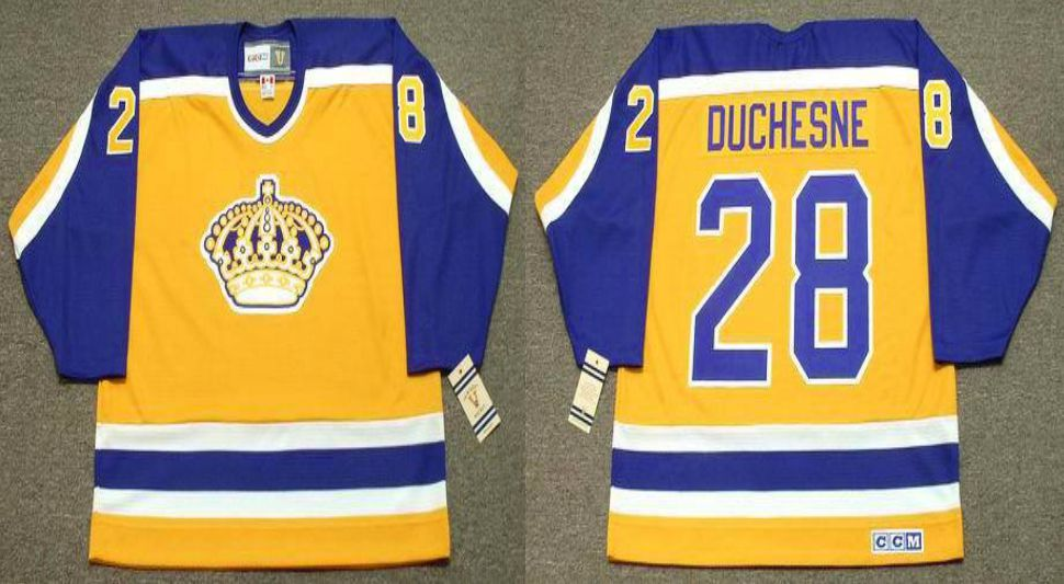 2019 Men Los Angeles Kings 28 Duchesne Yellow CCM NHL jerseys