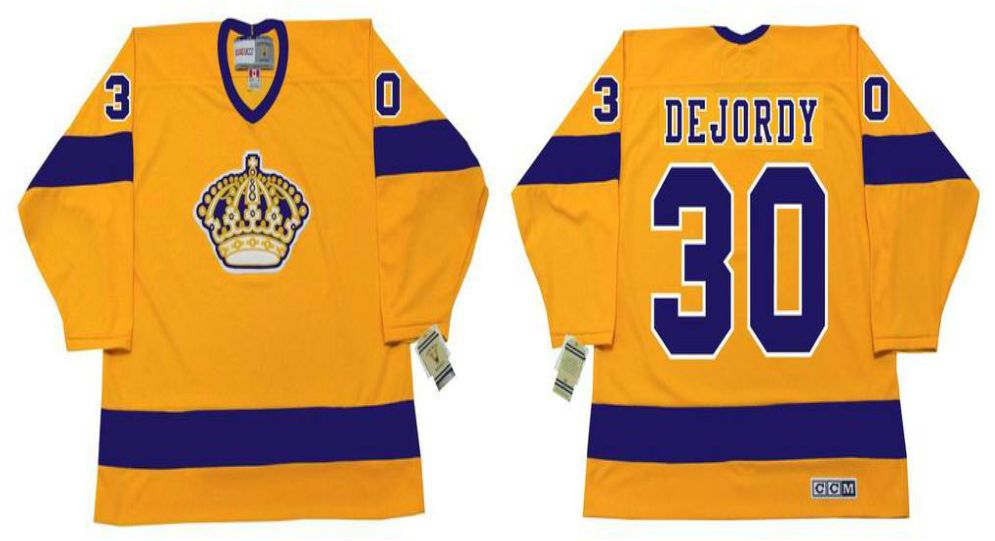 2019 Men Los Angeles Kings 30 Dejordy Yellow CCM NHL jerseys