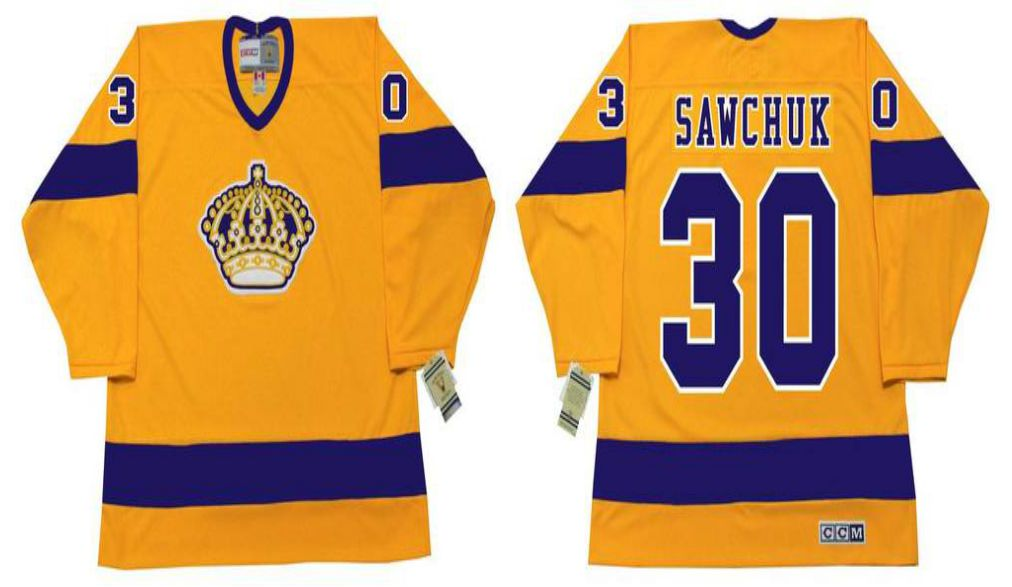 2019 Men Los Angeles Kings 30 Sawchuk Yellow CCM NHL jerseys