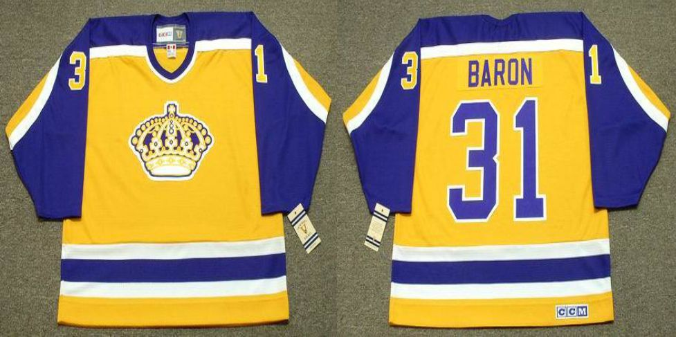 2019 Men Los Angeles Kings 31 Baron Yellow CCM NHL jerseys