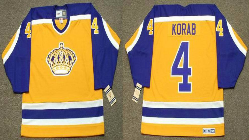 2019 Men Los Angeles Kings 4 Korab Yellow CCM NHL jerseys