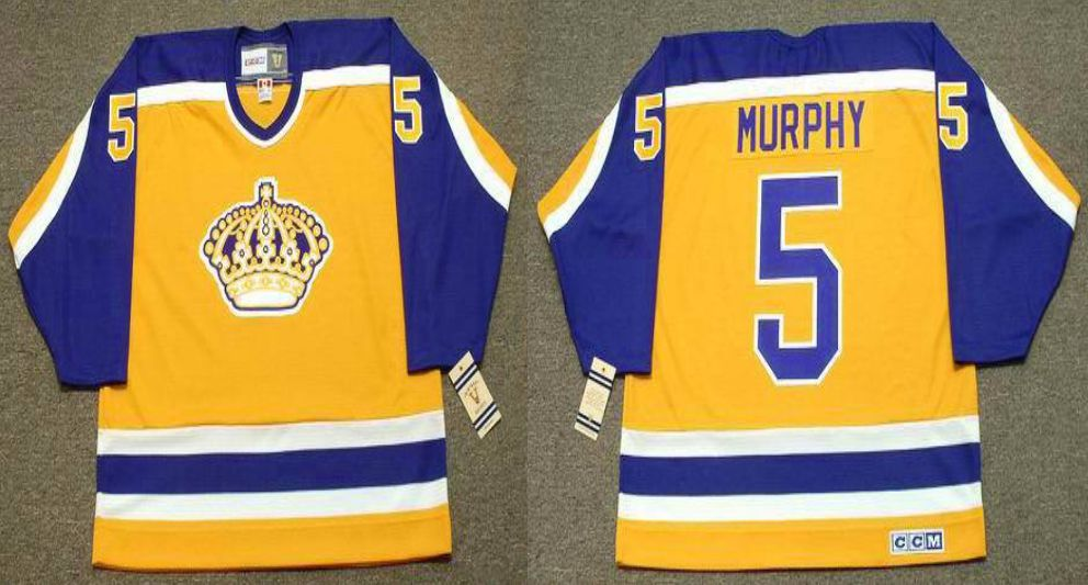 2019 Men Los Angeles Kings 5 Murphy Yellow CCM NHL jerseys
