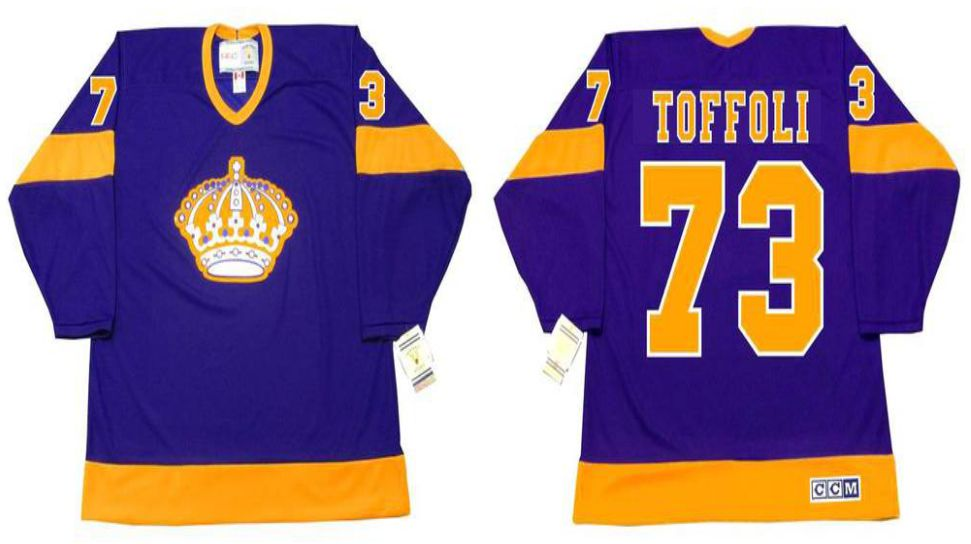 2019 Men Los Angeles Kings 73 Toffoli Purple CCM NHL jerseys
