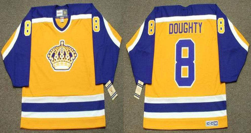 2019 Men Los Angeles Kings 8 Doughty Yellow CCM NHL jerseys