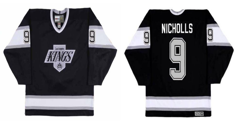 2019 Men Los Angeles Kings 9 Nicholls Black CCM NHL jerseys