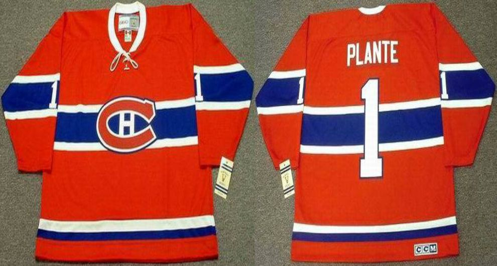 2019 Men Montreal Canadiens 1 Plante Red CCM NHL jerseys