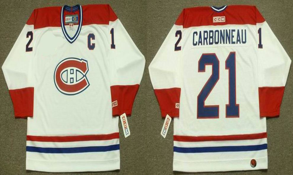 2019 Men Montreal Canadiens 21 Carbonneau White CCM NHL jerseys