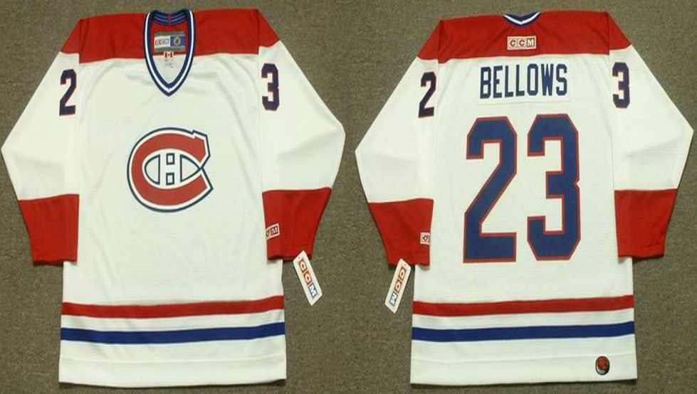 2019 Men Montreal Canadiens 23 Bellows White CCM NHL jerseys