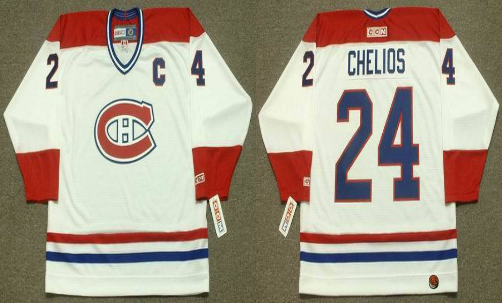 2019 Men Montreal Canadiens 24 Chelios White CCM NHL jerseys