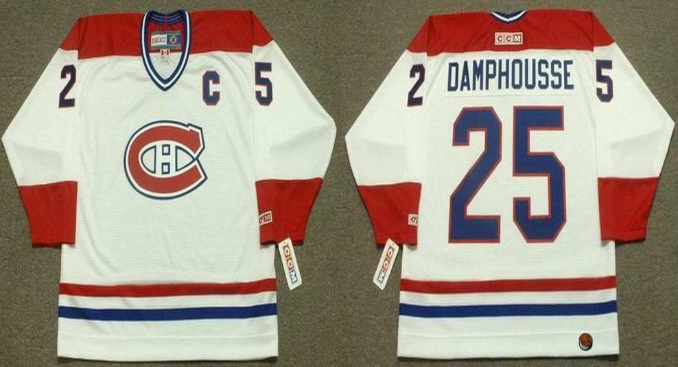 2019 Men Montreal Canadiens 25 Damphousse White CCM NHL jerseys